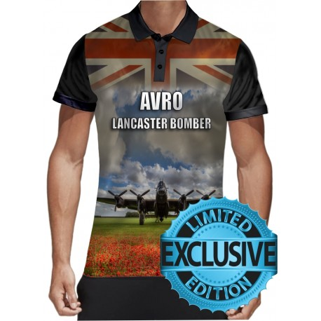 AVRO Lancaster Blueprint POLO-Shirt Thumper Rolls Royce Bomber Command Aircraft RAF POLO SHIRT