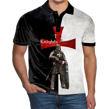 THE RISE OF THE KNIGHTS TEMPLAR TEMPLE CHRIST THE SOLDIERS OF GOD UK REG FIT POLO SHIRTS